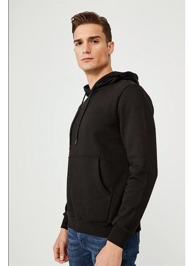 Avva Erkek  Kapüşonlu Yaka Düz  Sweatshirt E001006.03 Siyah